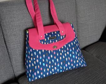 Popsicles Mayole Bag, shoulder bag with secure flap, unique summer design purse, Holey Mayole handbag
