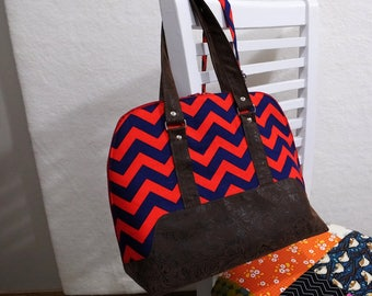 The Chev, red and navy chevron print Boronia Bowler Bag with silver hardware, brown faux leather, unique purse, colorful handbag