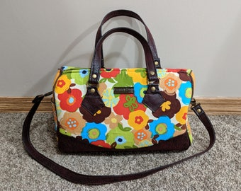 Grown Up Flower Girl Blanche Barrel Bag, shoulder bag, detachable strap, floral fabric and vinyl handbag, unique purse