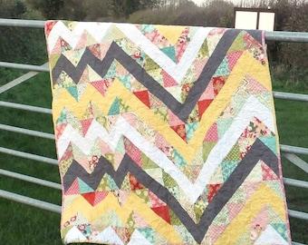Hello Chevron Lap Quilt, Sofa Throw, nap quilt, sofa blanket, lap blanket in feminine colours and florals