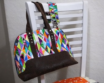 Digital Colour, crazy rainbow print Boronia Bowler Bag with silver hardware, brown faux leather, unique purse, colorful handbag