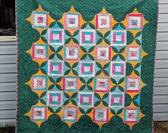 Frost Large Lap Quilt, Sofa Throw, nap quilt, sofa blanket, lap blanket, Scandi style in bright green, pink, yellow and teal
