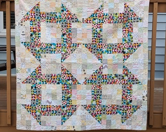 Giant Churn Dash Lap Quilt or Throw, fun baby gift, baby quilt, low volume