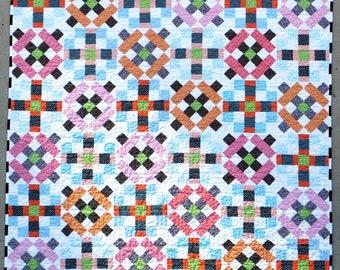 Crosswalks Lap Quilt or Throw, contemporary handmade patchwork quilt, sofa quilt, throw quilt with modern geometric design