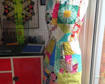 Junk in the Trunk Dress - One of a kind patchworked and quilted lined dress - size 8 UK, 4 US