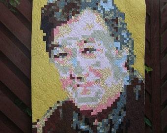 "Stephen Fry Art Quilt ""Fryed Pixels"" Wall hanging, wall quilt, celebrity portrait quilt"