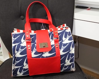 American Bluebird Nora Doctor Bag, structured purse with red vinyl handles, copper and silver hardware and turn clasp closure