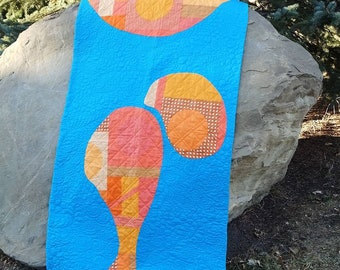 Paraffin baby quilt, small orange and blue modern patchwork quilt, improv floor quilt, play quilt inspired by lava lamp