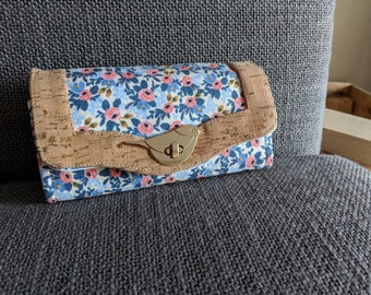 Floral Bird Necessary Clutch Wallet, NCW, with cork trim and bird turn lock, room for cards, cash & phone, Rifle Paper Company fabric, purse