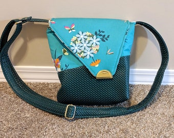 Bunches Squiffy Crossbody Sling bag, made from Mister Domestic Loved To Pieces fabric, unique cross-body bag, with green textured vinyl