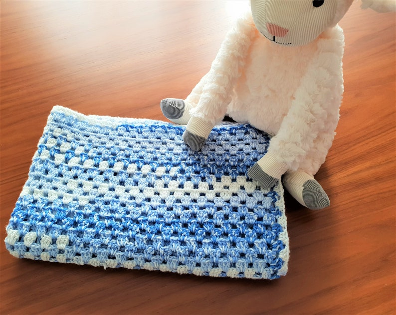 Baby Boy Blanket Handmade Textured Baby Blanket in Tones of Blue and White Ombre Small Medium Sizes Available FREE Shipping Baby Blue
