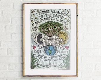 Earth Allegiance Pledge Poster - Earth Pledge Art Print - Environmental Art - - Nature Art - Home Decor - Environmentalist Poster