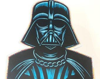 8x10 linocut print on white art paper Darth Vader linocut print