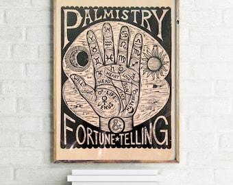 Palm Reading Artwork - Palmistry Chart Woodcut, Fortune Telling Wall Art, Palmistry Print, Occult Art, Goth Art - Home Decor - Hand Art