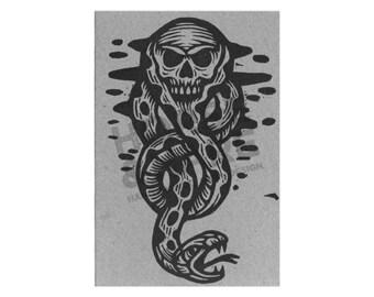 Dark Mark Postcard - Harry Potter Postcard - Cards - Letterpress Postcards - Paper - Harry Potter Art - Skull and Snake - Literary Gifts