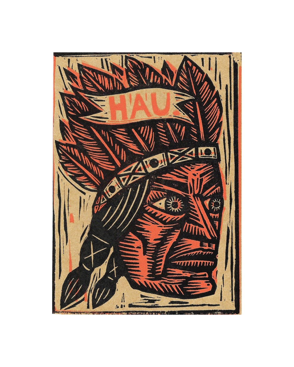 Native American Greeting Card Hau Linocut Letterpress Card Etsy