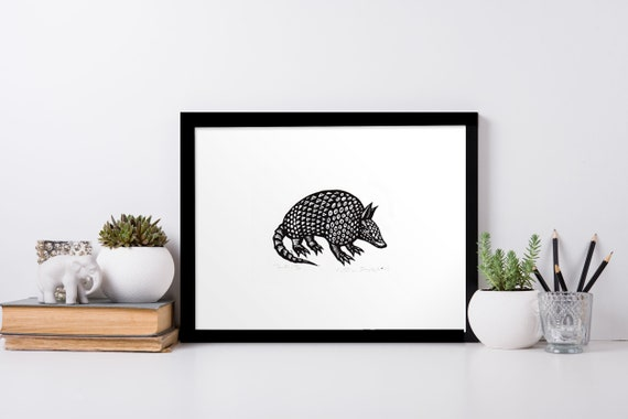 Nine Banded Armadillo Art Print on Vintage Book Page Home Office Decor Gifts