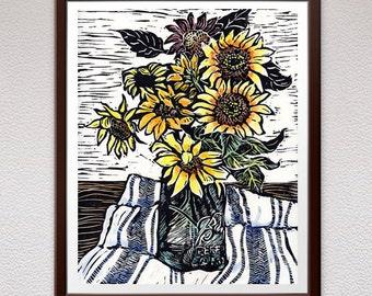 Sunflowers, Wall Art, Linocut Print, Block Print, Relief Art Print, Lino Cut Print, Christmas, Gift, For Him, For Her, Linoleum Print, Art