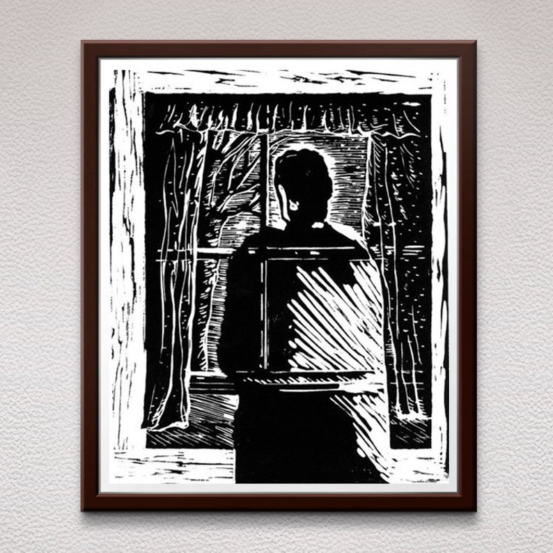 Ghost, Linocut Print, Block Print, Linoleum Print, Lino Cut Print, Relief Art Print, Wall Art, Gift, For Him, For Her, Halloween Gift