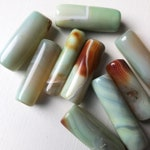 Peruvian Opal Long Cylinder Tube Beads, Light Blue Stone Beads for Jewelry   10 x 30mm