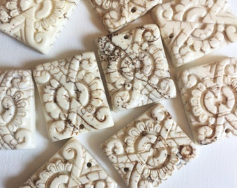White Magnesite Carved Rectangle Focal Stones