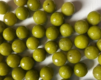Olive Jade 10mm Faceted Rounds