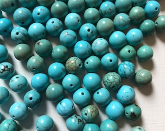 8mm Smooth Light Turquoise Blue Magnesite Beads