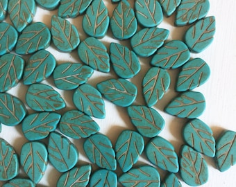 14 x 8mm Carved Turquoise Magnesite Leaf Beads