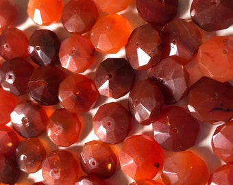16 x 8mm Carnelian Faceted Rondelle Beads