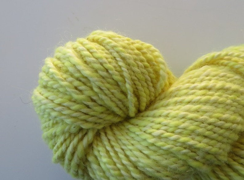Hand Spun Yarn Alpaca and Merino 120 yards Natural Dyed Yarn with Golden Rod Flowers Bulky 2 ply 8.9 oz