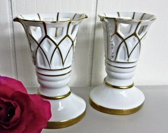 Vintage White and Gold Candle Holders - Set of 2 - Candlestick Holder - White Wedding Gift - Porcelain