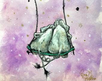 Love Forever Elephants - fine art Giclee print Illustration