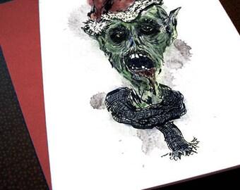 Santa Zombie Elf - Printable Digital Art, holiday