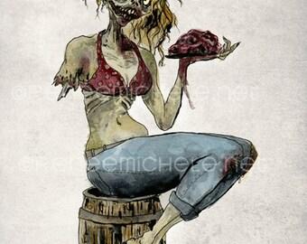 Pinup Girl Zombie Brains - fine art print Illustration