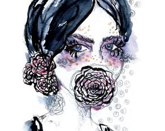 Tears of Roses - fine art print Illustration
