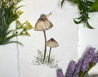 Woodland Snail and Mushrooms - Art Print