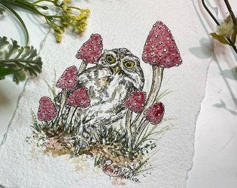 Mini Woodland Owl and Mushrooms - Art Print
