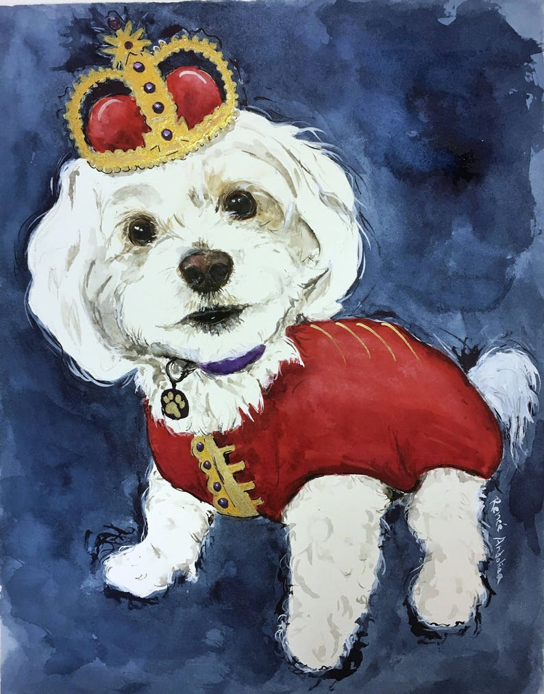 Custom Animal Cat Dog Pet Portrait Watercolor Painting image 0