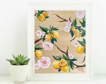 Lemons and Flowers Kitchen - Giclée Art Print