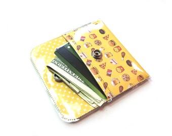 Junk Food Emoji Print Card Holder Snap Wallet