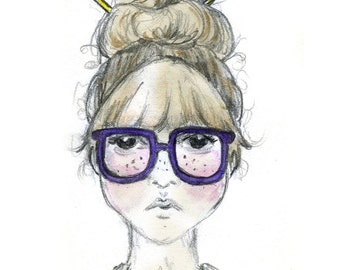 Geek Chic - fine art print Illustration