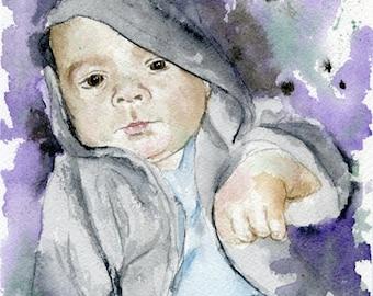 Custom children family kids Portrait Watercolor Painting, Pencil Drawing