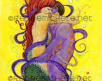 Sea of Love - fine art print, mermaid, octopus