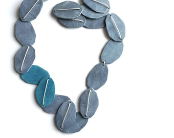 Geometric necklace, Seaweed necklace, abstract, summer fashion, tropical jewelry, art jewelry, earthy necklace