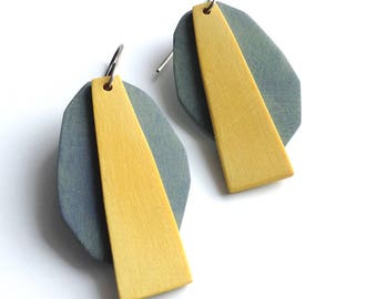 Geometric earrings, seaweed, inspired by nature, art jewelry, contemporary jewelry, Tropical earrings, beach fashion