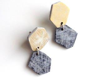 Polygon earrings, geometric jewelry, contemporary earrings, clay jewelry, modern classic earrings,