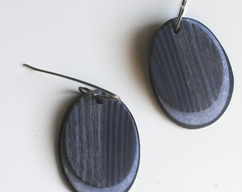 Striped, dark blue, indigo, oval earrings, geometric, dangle earrings
