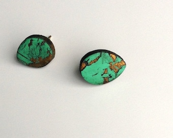 Turquoise, teardrop, post earrings