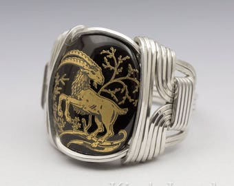 Capricorn Zodiac Astrology Sign December 22 - January 20 Glass Cabochon Sterling Silver Wire Wrapped Ring - Made to Order, Ships Fast!