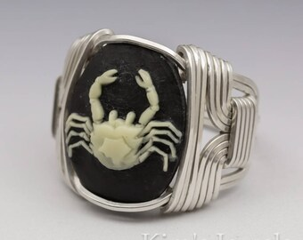 Cancer Zodiac Astrology Sign June 22 - July 22 Acrylic Cameo Sterling Silver Wire Wrapped Ring - Made to Order, Ships Fast!